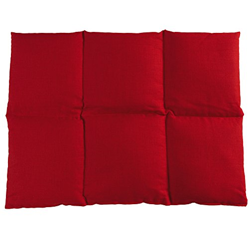 Coussin aux graines de lin 40x30-6 compartiments - Rouge - Coton Bio - Coussin thermique - Coussin aux graines - Bouillotte sèche - Compresse froide