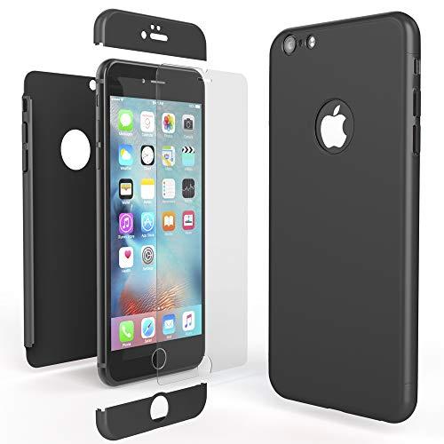 NALIA Funda Integral Compatible con iPhone 6 6S, Carcasa Completa con Cristal Templado, Ultra-Fina Movil Cubierta Dura Bumper Delantera y Trasera Hard-Case Smart-Phone Cover, Color:Negro