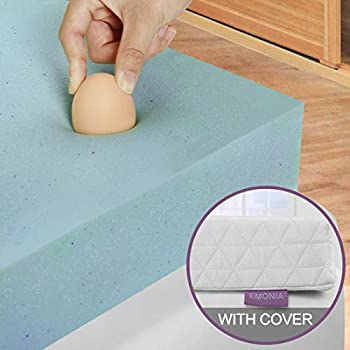 Emonia 3 inch Memory Foam Mattress Topper with Bamboo Cover (Twin Size)