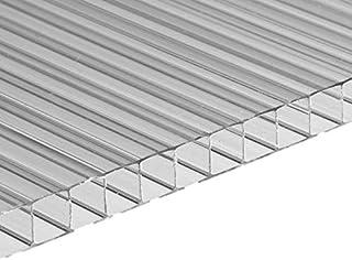 Placa de policarbonato alveolar, 2000 x 980 mm, 2 paredes, 6 mm de grosor, transparente