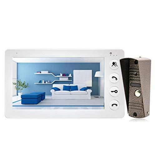 Video Intercom 7 Inch Waterproof Doorbell Camera Video Door Phone Door Access Control System Smart Doorbell for Home Office (Color : White, Size : No Lock)