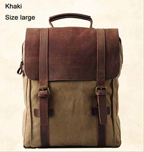 YMKWQF Sac À Dos Vintage Fashion Backpack Leather Military Canvas Backpack Men Backpack Women School Backpack School Bag Backpack Rucksack Khaki Size Large