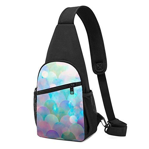 NiYoung Unisex Shoulder Bag Chest Crossbody Bag Pack Rucksack Casual Fashion Sling Backpack for Travel Bike Gym (Sparking Mermaid Fish Scales)