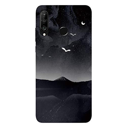 DiaryTown Compatible avec Coque Huawei P30 Lite Silicone Souple, Etui Noir Housse de téléphone Antichoc TPU Cover Mince Motif Joli Fine Black Case Anti-Rayures pour Huawei P30 Lite, Univers B