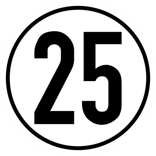 Geschwindigkeitsschild 25 km/h, 20cm nach §58 StVZO, Folienaufkleber zur Anbringung Karosserie aussen, Aufkleber, Geschwindigkeit, rund, für Traktor, LKW, Rollstuhl, etc.