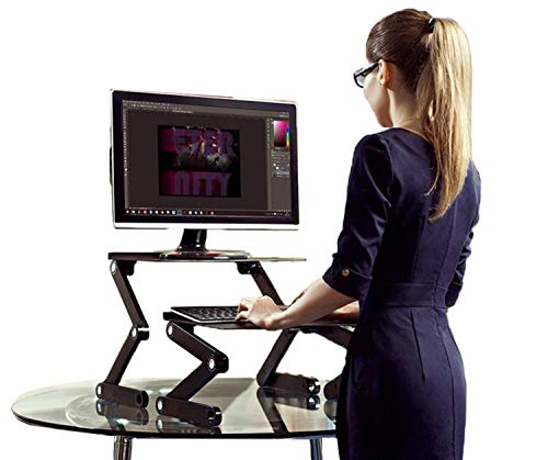 WorkEZ Standing Desk Converter for Laptops ergonomic adjustable height sit to stand up desktop stand riser topper small lightweight portable aluminum computer macbook negative tilt keyboard tray,black