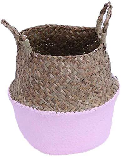 Bravoy vis mandje picknickmand speelgoedkist Haard mand Opvouwbare bloempot zeegras opslag mand met handvat for badkamers van kinderen (Pink)