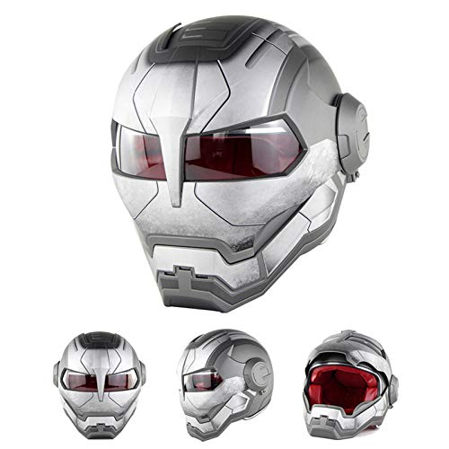 Braveking Motorradhelm, Iron Man-Integralhelm, Transformers Klapphelm, Vintage Harley-Helm,13,XL