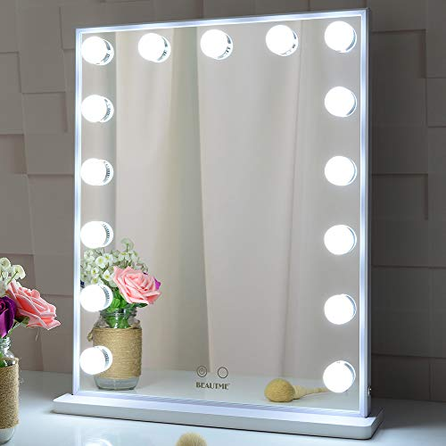BEAUTME Espejo de tocador iluminado con luces, espejos de belleza de mesa Hollywood o de pared con 15 luces (blanco)
