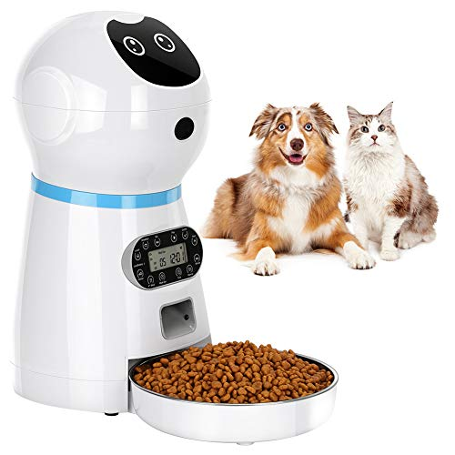 TTPet Automatic Cat Feeder, Timed Dog Food Dispenser, 3.5L Capacity, Stainless Steel Bowl, Portion Control, Voice Recording, Timer Programmable up to 4 Meals a Day