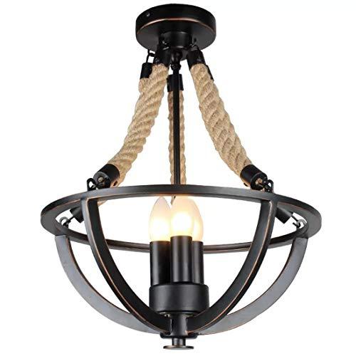 Metal negro mate guita lámpara de cuerda de cáñamo moderno, laca de aceite negro, pantalla, retro araña