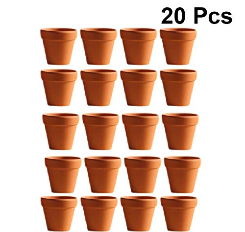 Yardwe 20Pcs 4.5x4cm Small Mini Terracotta Flower Pots Clay Ceramic Pottery Planter Cactus Flower Pots Succulent Nursery Pots Great for Plants Crafts Wedding Favor