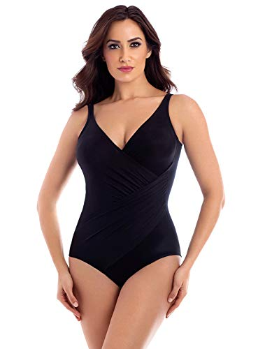 Miraclesuit Women's Swimwear DD-Cup Solids Oceanus Tummy Control Bra One Piece Swimsuit, Black, 10DD