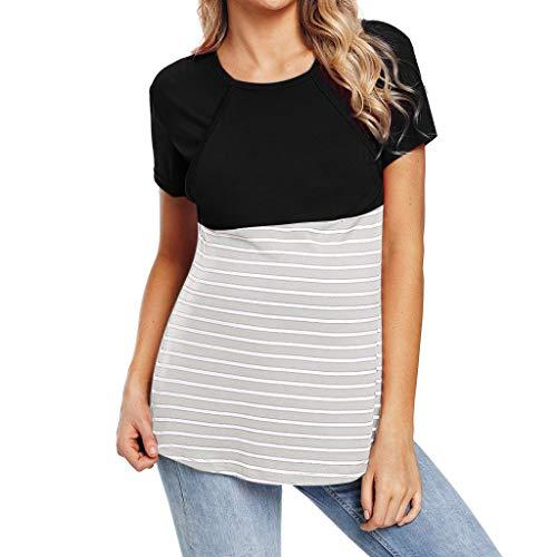 HCFKJ Mujer Embarazada Las Mujeres Embarazadas De Maternidad De EnfermeríA De La Raya La Lactancia Superior Blusa De La Camiseta