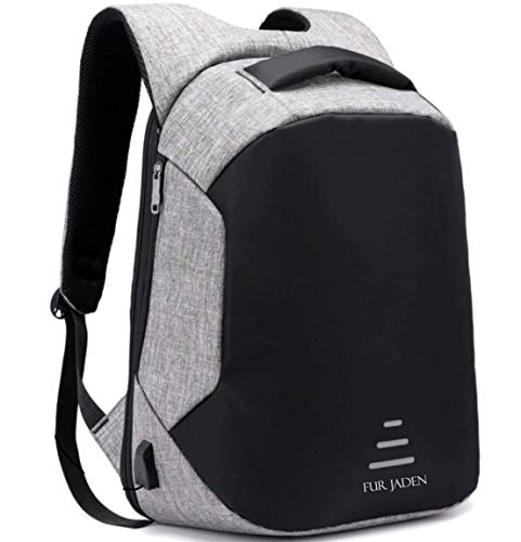 Fur Jaden 20L Grey Anti Theft Bag 15.6 Inch Laptop Backpack with...