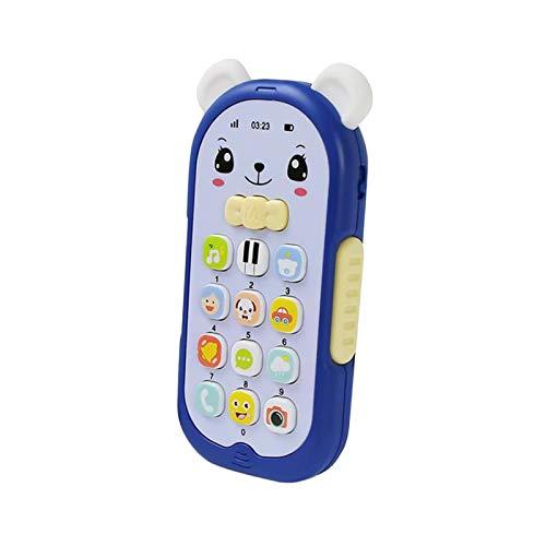 Hellery Juguete del Teléfono del Bebé de La Historieta Que Finge Tocar La Máquina de Música - Oso Azul