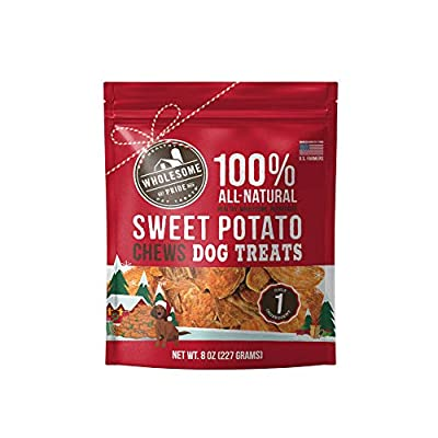 Wholesome Pride Sweet Potato Chews Dog Treats, 8 oz, Holiday Edition - All Natural Healthy - Vegan, Gluten and Grain-Free Dog Snacks - Made in USA