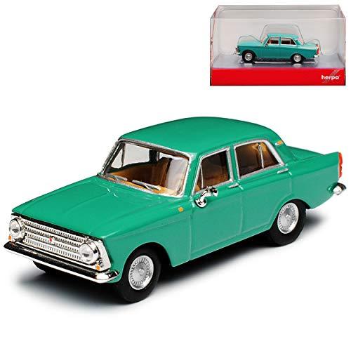 Moskwitsch 408 412 Limousine Tuerkis Gruen DDR 1964-1975 H0 1/87 Herpa Modell Auto