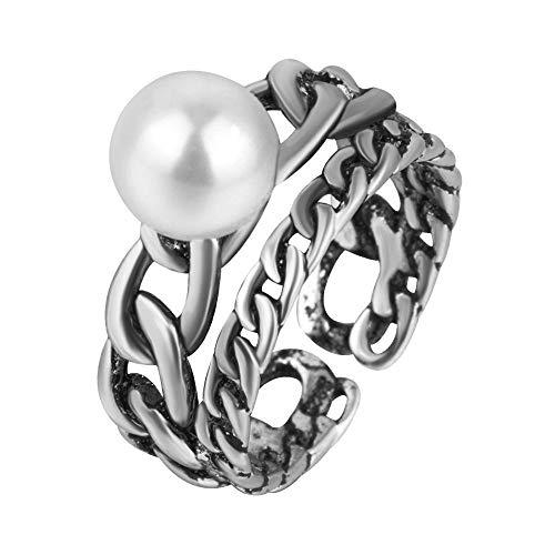 Daeou Open Ring Open ingelegd parel ring galvaniseren rijst allergie Ring afstuderen geschenk Stuur familie vriend