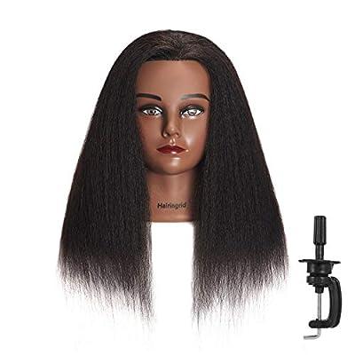 "Hairingrid Mannequin Head 16"" 100% Real Hair Hairdresser Cosmetology Mannequin Manikin Training Head Hair and Free Clamp Holder"
