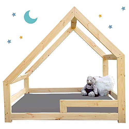 Letto casetta per bambini NeedSleep®   letto montessori a forma di casetta  70x140 80x160 90x180  letto con barriera anticaduta   asimmetrico (80x160 cm, con protezione anticaduta)