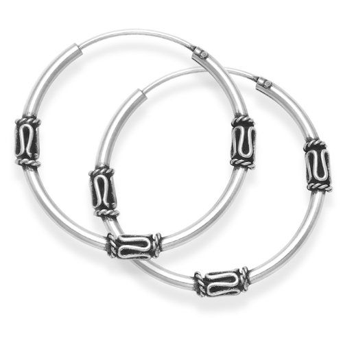Sterling Silver Medium Bali Hoop earrings, three wires pattern - Size: 24mm 6211