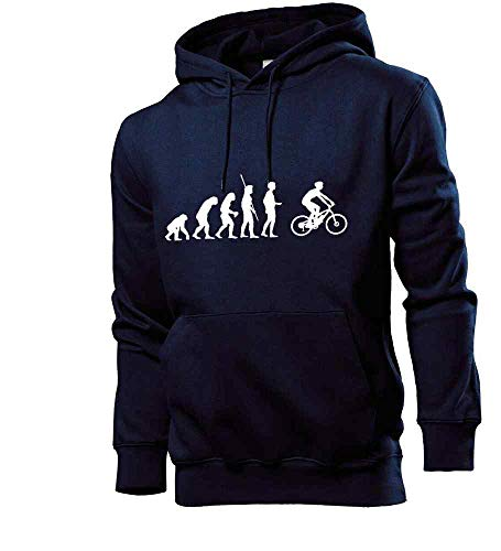 Generisch Shirt84.de Sweat-shirt à capuche pour homme Evolution VTT électrique - Bleu - Medium