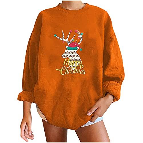 WANGTIANXUE Jersey de Navidad para mujer, adolescente, nia, divertido, con diseo de bho, con estampado navideo, de manga larga, Zz3-orange, S