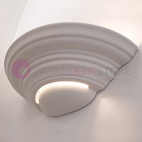 Applique Lampada A Parete Decorabile In Ceramica Gesso Colorabile Verniciabile- Linea Ceramica- Illuminazione Interni