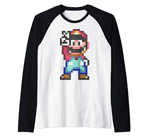 Super Mario Pixel Peace Sign Raglan Baseball Tee