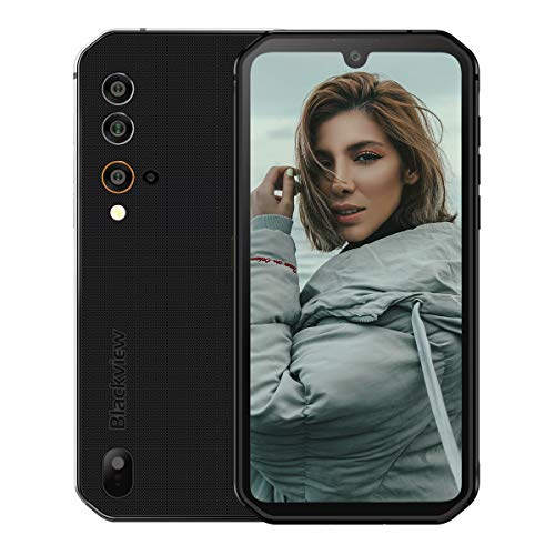 "Blackview BV9900E (2020), IP68 4G Handy Ohne Vertrag Smartphone, Helio P90 Octa-Core 6 GB + 128 GB ROM, 48 MP +15MP Kamera, 5,84\"" FHD + Android 10 4380 mAh Dual NFC Schwarz"