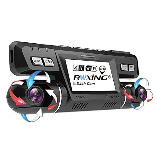 RWXING 4K WiFi GPS Dash CAM Coche,Frente y Trasera Dobles 360° Rotación 340 Grados Gran Angular Cámara Vigilancia con WDR Visión Nocturna,ADAS,Super Condensador,Detección de Movimiento para Coches