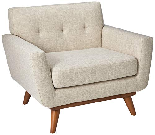 Modway Engage Mid-Century Modern Upholstered Fabric Accent Arm Lounge Chair in Beige, Armchair