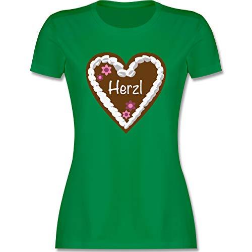 Oktoberfest & Wiesn Damen - Lebkuchenherz Herzl - XL - Grün - Trachtenbluse Damen schwarz - L191 - Tailliertes Tshirt für Damen und Frauen T-Shirt