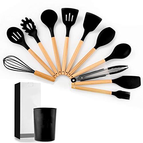 11 Sets Storage Barrel Wood Handle Silicone kitchenware Non Stick Spatula kitchenware Cooking Set