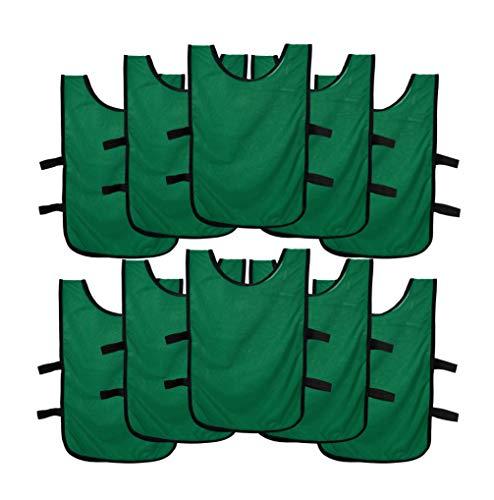 Ronex Sports Pack de Petos de Entrenamiento 10 Unidades para niños, jóvenes y Adultos (Petos Deportivos, Petos de Futbol Verde Oscuro, Joven (9-15 años))