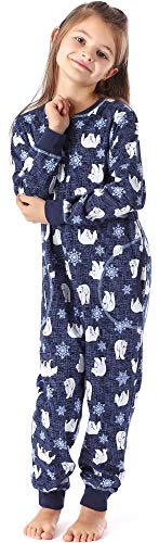 Merry Style Pijama Entero 1 Pieza Vestido de Casa 100% Algodón Niña MS10-186 (Marino Oso, 110-116)