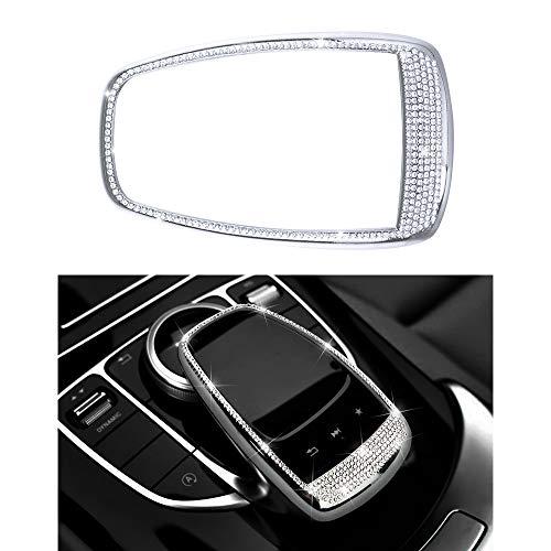 VDARK Zubehör Teile Trimmen Touchpad Bildschirm Zentrale Multimedia-Steuerung Kappen Abdeckungen Innendekorationen für W204 X204 W166 X166 C Klasse GLK AMG Bling Kristall (Silber)