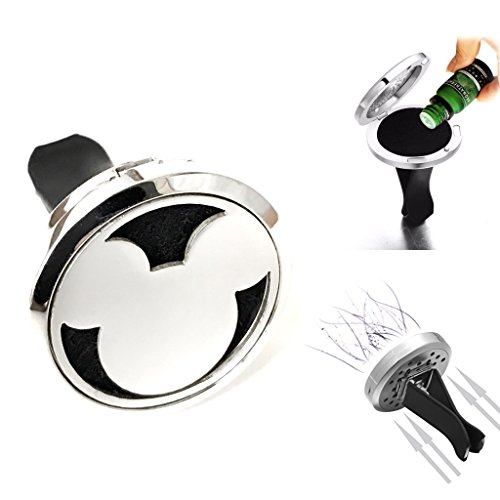 FIKA Mickey Mouse Car Air Freshener Vent Clip Locket Aromatherapy Essential Oils Great for Travel Pads Included (Silver)