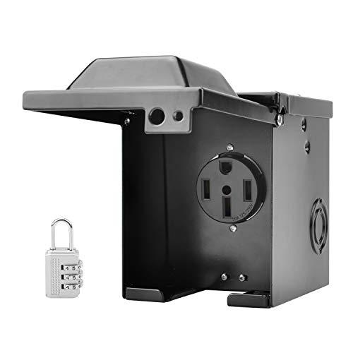 RVGUARD 50 Amp 125/250 Volt RV/EV Power Outlet Box, Enclosed Lockable Weatherproof Outdoor Electrical NEMA 14-50R Receptacle Panel, ETL Listed