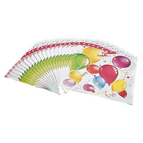 Fetez Lot de 20 Serviettes en Papier Ballons colorés gonflables et serpentins, 33x 33cm, 3 Plis