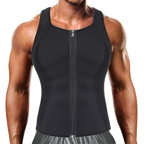 Men Hot Neoprene Workout Sauna Tank Top Zipper Waist Trainer Vest Weight Loss Body Shaper Compression Shirt Gym Clothes Corset (Black Workout Tank, XL)