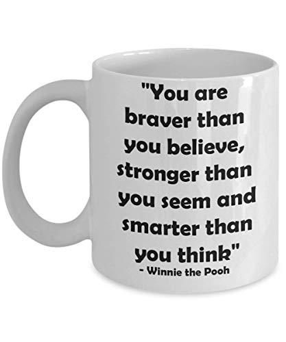 N\A Taza de Regalo novedosa de la Bella y la Bestia de Disney para cónyuge, Novia, Hermana, Taza de cerámica para té y café, Eres más Valiente de lo Que Crees, Fuerte