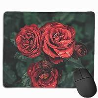 美しい 赤い バラ ロマンチック自然 風景 ビンテージ デスクマット可愛い学習 PC デスクマット オフィスデスクパッド 机 マット パソコンデスクパッド 防水 多機能 防水 (30*25cm)
