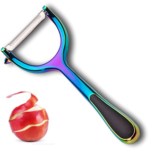 Iridescent Rainbow Vegetable Potato Peeler - Y Shaped Professional Quality, Modern and Multi Coloured. Strong Blade & Handle. Handheld Kitchen Tool for Carrots Cucumber Apple. Taylors Eye Witness