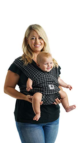 Baby K'tan Print Baby Wrap Carrier, Infant and Child Sling – Simple Pre-Wrapped Holder for Babywearing – No Tying or Rings – Carry Newborn up to 35 lbs, Houndstooth, L (W Dress 16-20 / M Jacket 43-46)