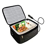 Portable Oven 12V Personal Food Warmer,Car Heating Lunch Box,Electric Slow Cooker For Meals Reheating & Raw Food Cooking for Road Trip/Office Work/Picnic/Camping/Family gathering(12V) (Black)