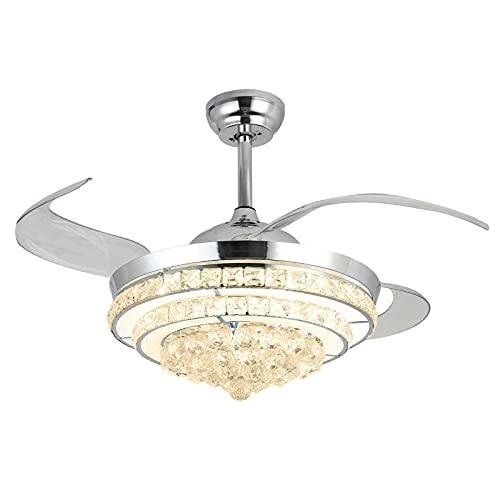 OUKANING Ventilador de Techo LED con iluminación Ventilador de 36 W Regulable Luz de Techo Ventilador Ajustable Ultra silencioso Lámpara de Techo Ventilador de Dormitorio Ventilador(42 Pulgadas)