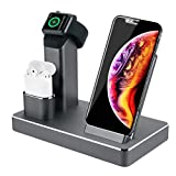 ZIKU Wireless Charger.6 in 1 Aluminum Alloy 80W 14A 5-Port USB Wireless Charging Stand Station Dock for Airpods/Apple Watch 5/4/3/2/iPhone SE/11 Pro Max/X/XS/XR/Xs Max/8/8 Plus-Built-in Adapter (Gray)