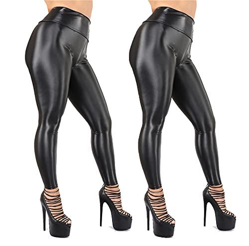 Dames Sexy Imitatie Leer Yoga Baseren Leren Broek Beweging Fitness Broek Kleine Voet Broek,zwart,S